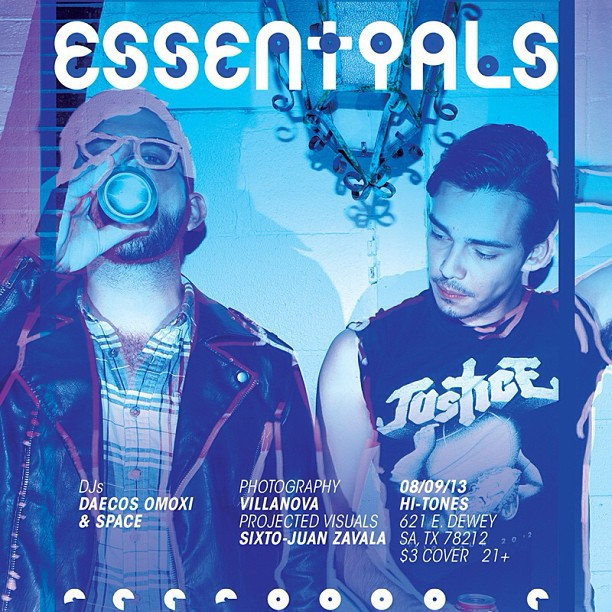 Essentials will be this Friday, August 9th! DJs Daecos Omoxi and Space. Event photography by Fabian Villa and Steven Casanova. Projected Visuals by Sixto-Juan Zavala. At Hi-Tones, 621 E Dewey. $3 Cover. 21 and up.