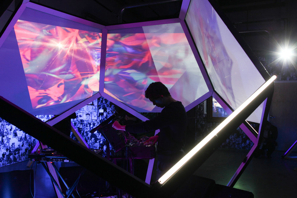 EAST X ESSENTIALS CREATIVE: Dylan Cameron of Holodeck Records performing in the dodecahedron.