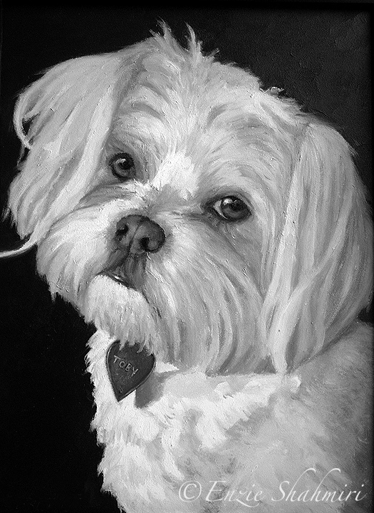 "Toby belongs to Cindy, who saw my work during an show and commissioned me to paint her dog. "" Enzie, Oh my gosh! I LOVE it !! You're SO good! Do I still have time to commission a portrait of another dog for Christmas? My sister-in-law lost her dog ""Paco"" last month and I would love to have you paint a picture of him."" Mrs. Cindy Fazendin ~ Mission Viejo, CA"