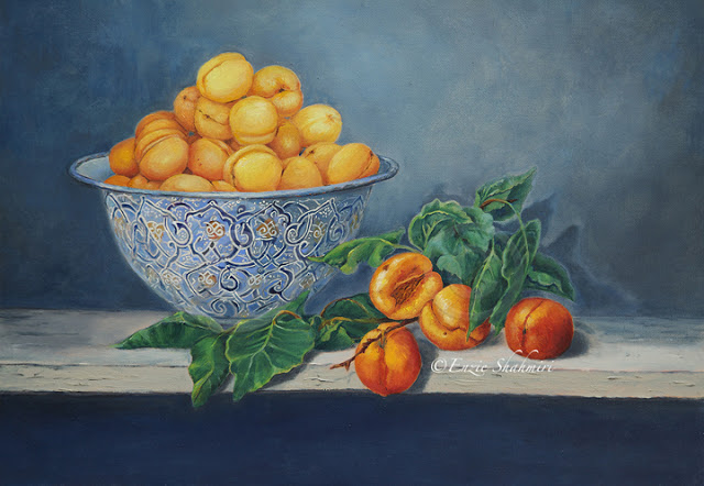Apricots and Peaches painting by Enzie Shahmiri