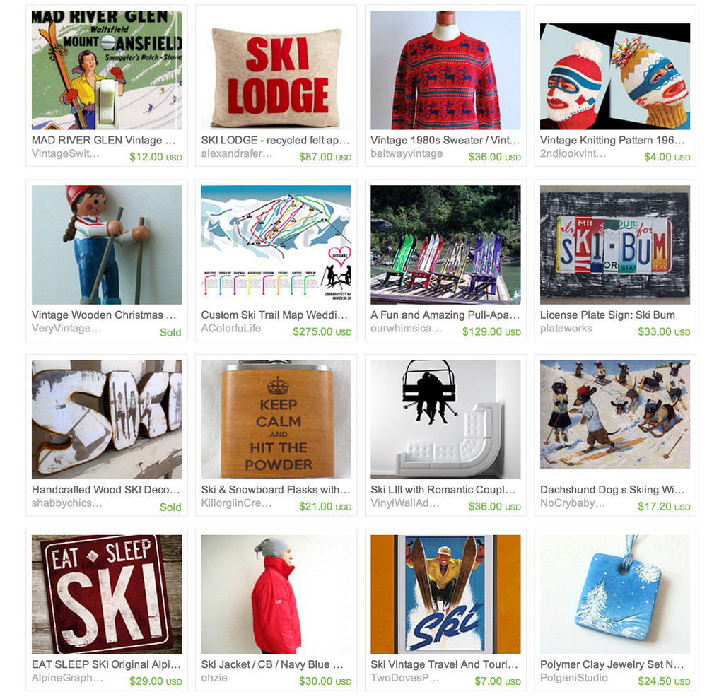 Some goodies I found related to skiing on Etsy