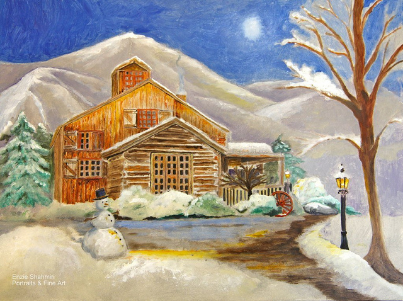 """Winter by the Cabin""  is now in the home of another collector of my work Ms. Laura Robinson from Laguna Beach, Ca. She also owns ""Skating Dreams""  and recently told me that she has a series of winter themed paintings that she displays in a hallway in her home."
