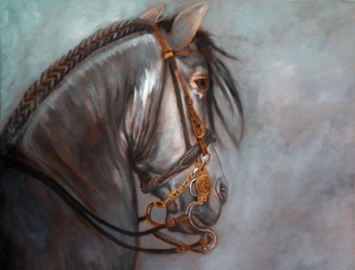 "I try to donate an original painting once a year for a good cause and picked the Shea Center for 2009. ""Andalusian Beauty"" belongs to Kerene Larson from Laguna Hills, CA."
