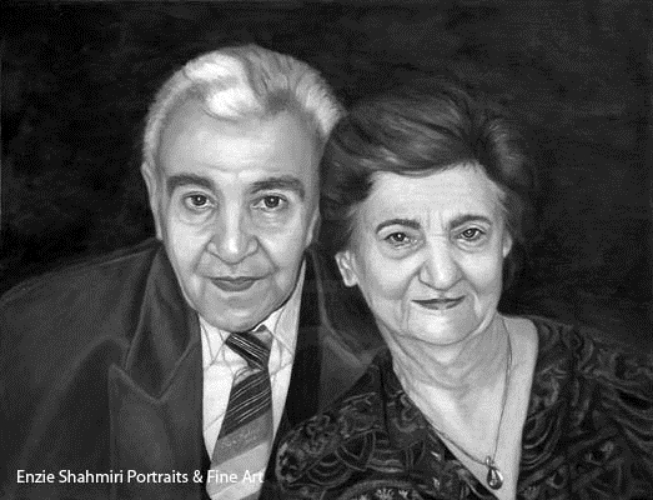 """ My Dear Enzie ""I just want to say thank you for the beautiful portrait of my parents. I love it!"" Mrs. Mahwash Moghadam ~ Laguna Hills, CA"