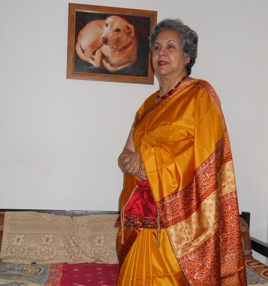 Mrs. Lalita Pai with Portrait of Scooby - Mumbai, Maharashtra, India