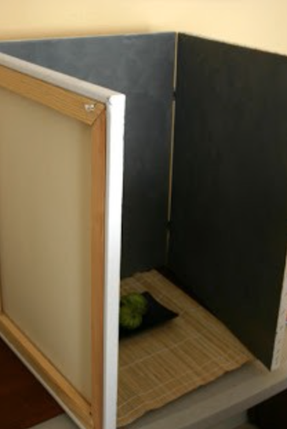 Canvas is painted neutral grey and joined with hinges to create box