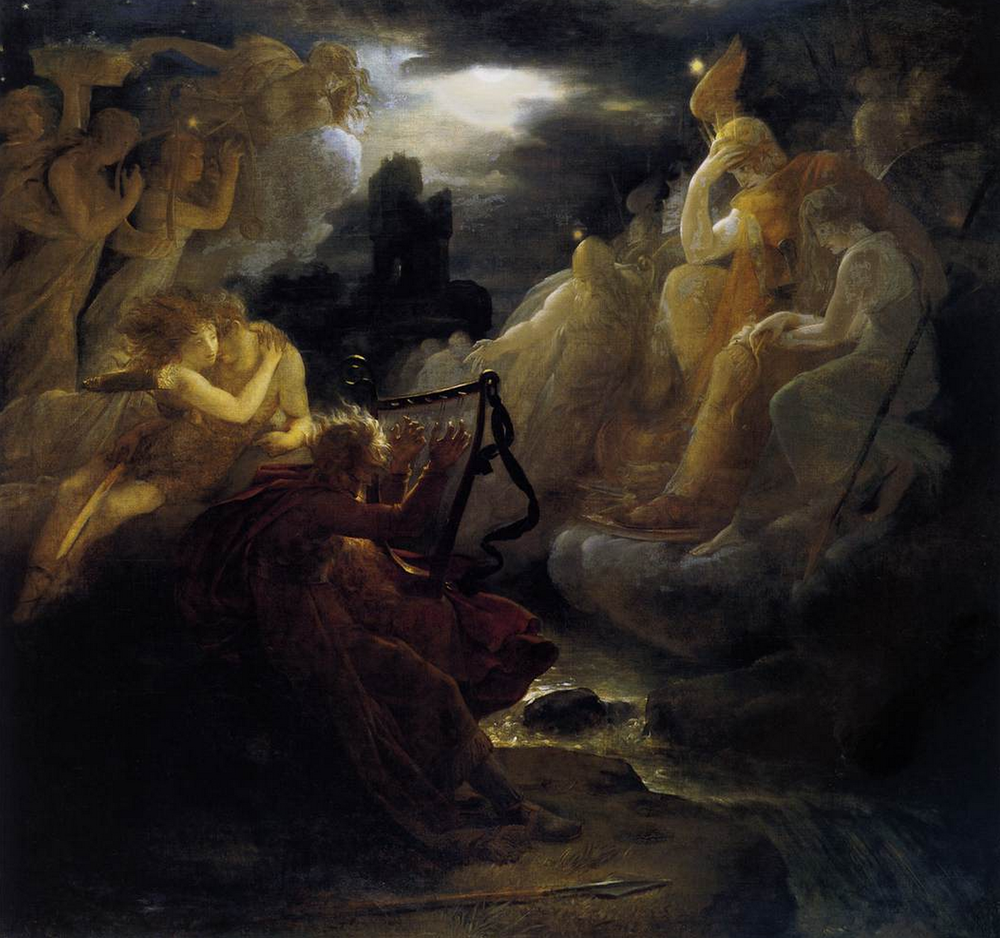 Ossian Awakening the Spirits on the Banks of the Lora with the Sound of his Harp By François Gérard