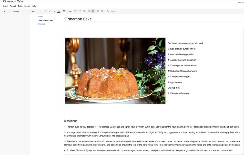 Printable Cinnamon Cake Recipe