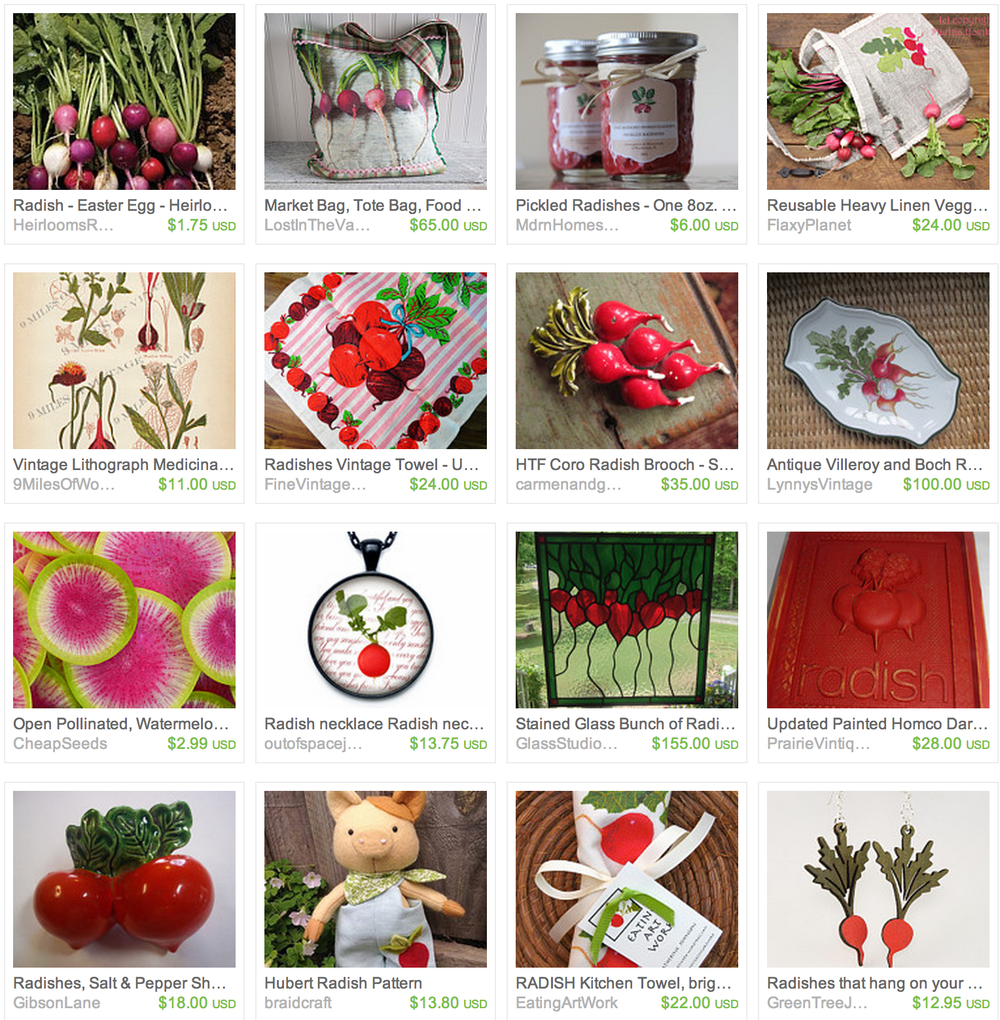 Radish inspired Finds on Etsy - Click to Visit Shops