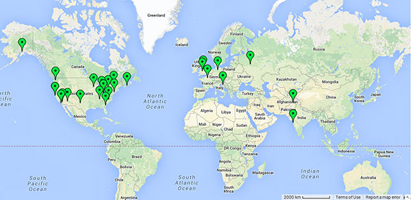 Location of some of my paintings around the world.