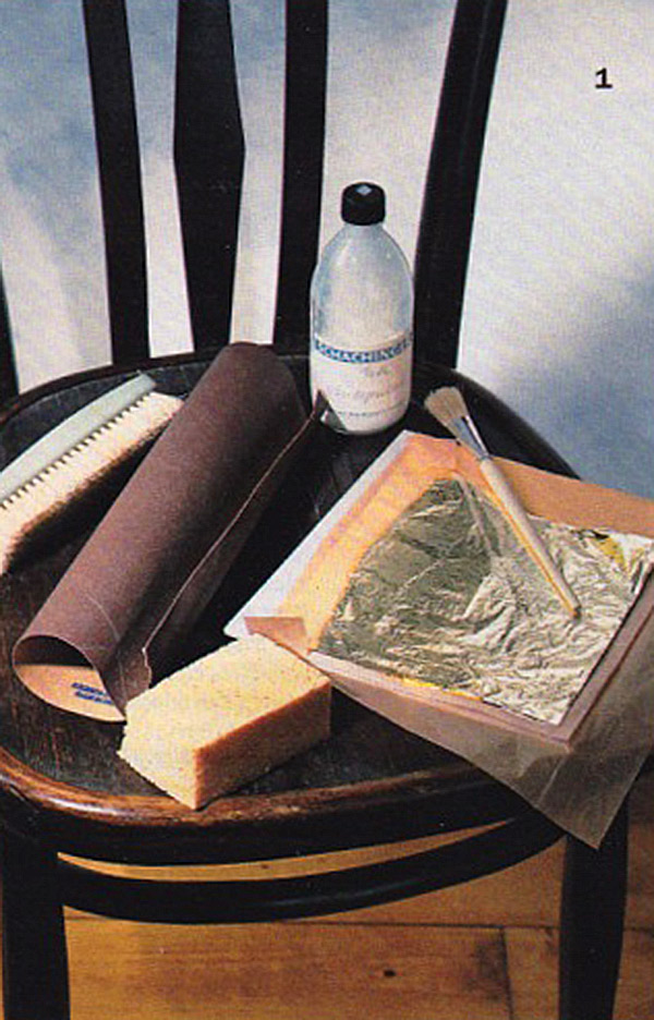 Supplies needed for Chair Gold Leaf Project