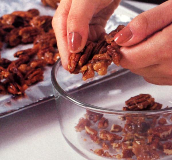 Break pecans into smaller pieces as needed