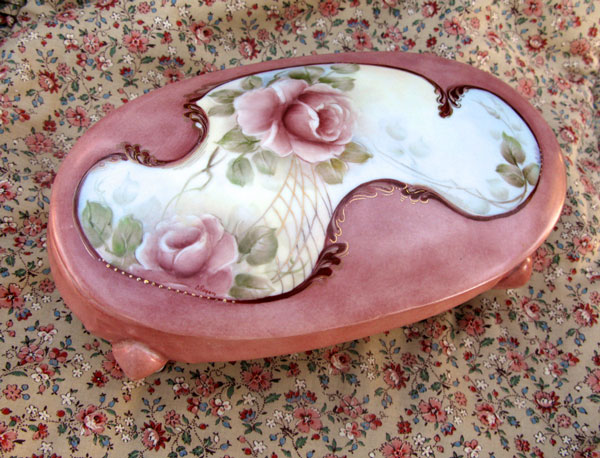 Hand Painted Rose Dish