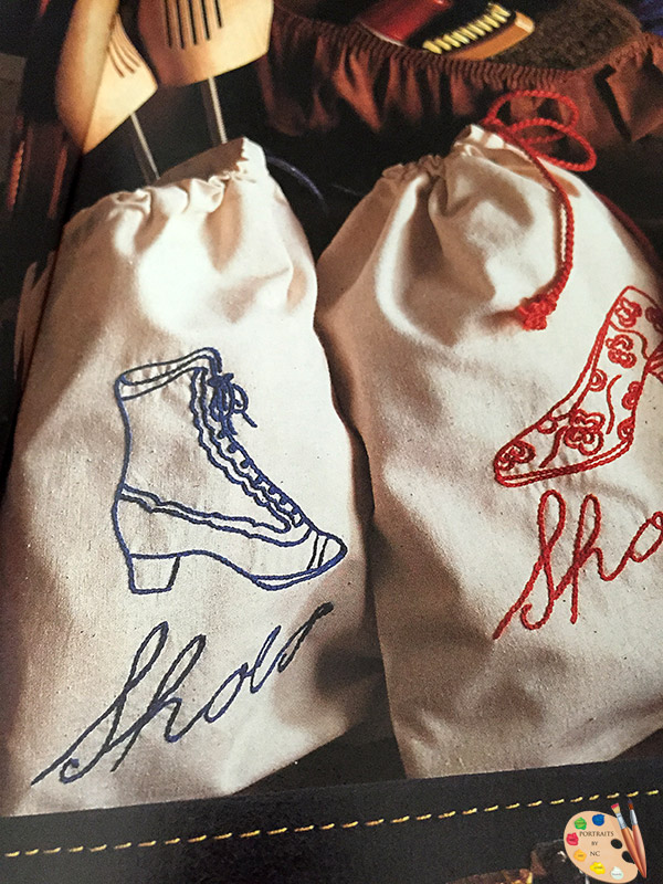 Handmade shoe bags are functional and adorable!