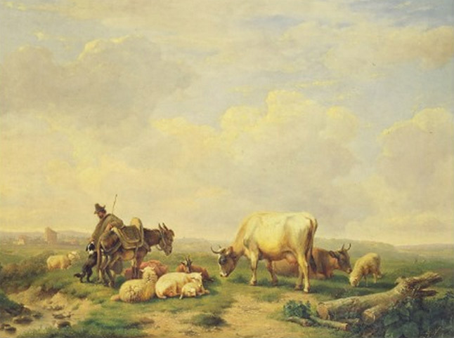 Herdsman and Herd Canvas Print