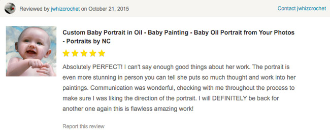 This Review was left via my Etsy Store
