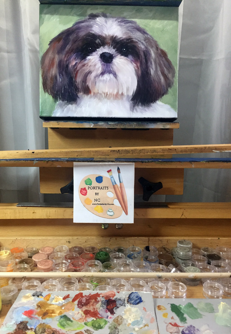 lhasa apso on easel
