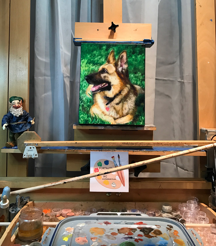 German Shepherd Painting on Easel