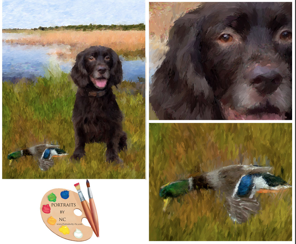 Detail shots of Duck Hunting Painting