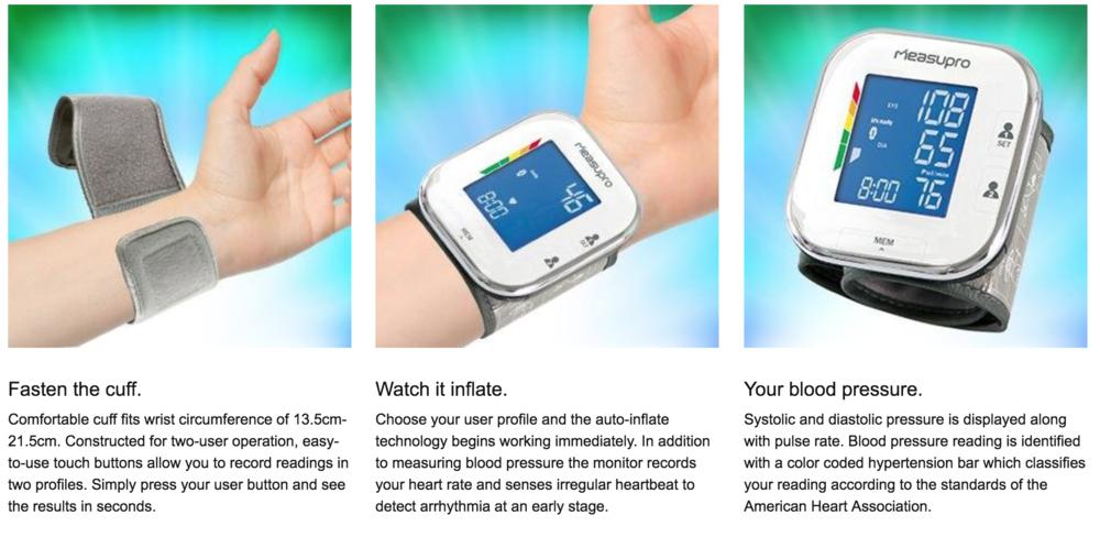 Measure Pro Portable Wrist Blood Pressure Monitor