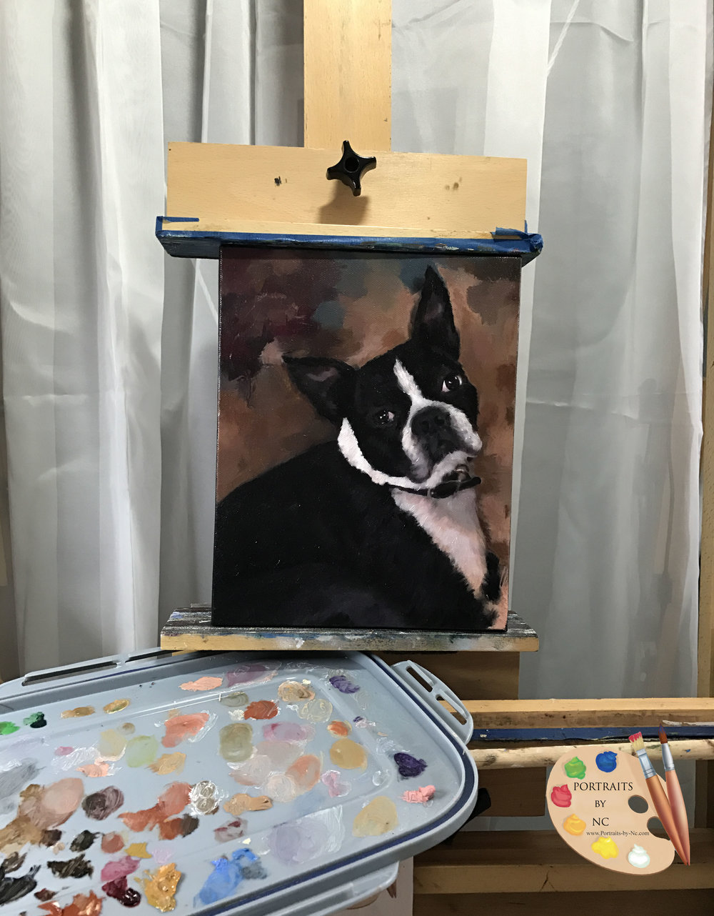 Boston Terrier on Easel