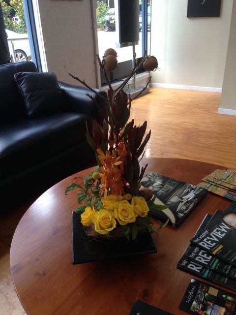 Two floral displays for the official opening of Fletchers Real Estatein Olinda