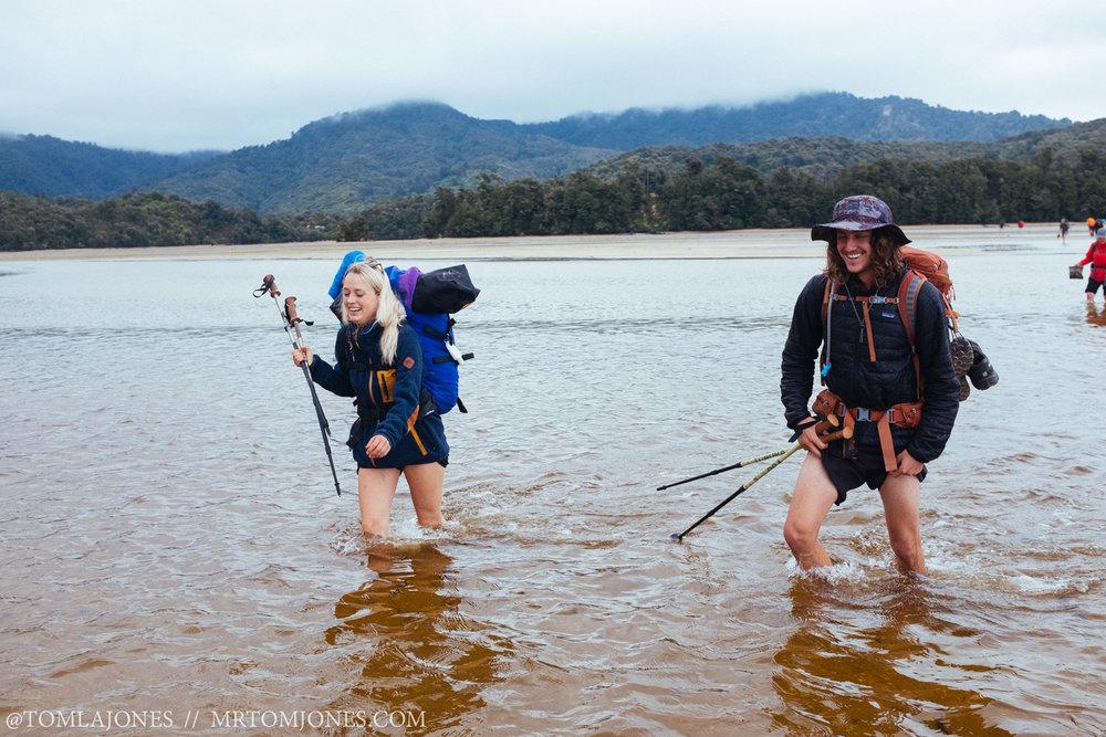 Em & Chris crossing the Awaroa Inlet, Abel Tasman