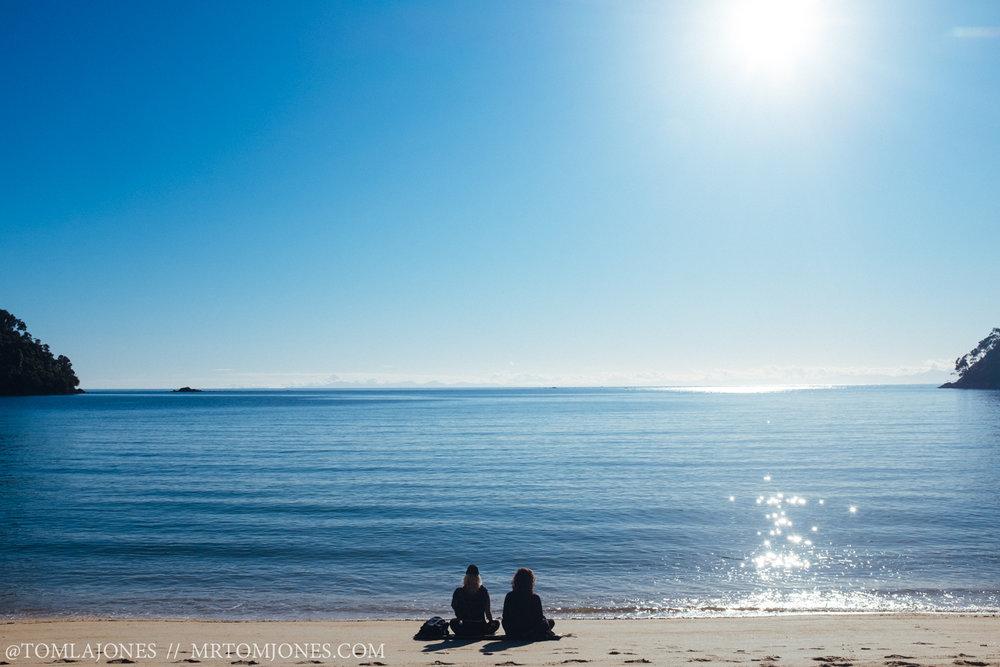 Morning meditators. Em & Jayden soaking up the warmth.
