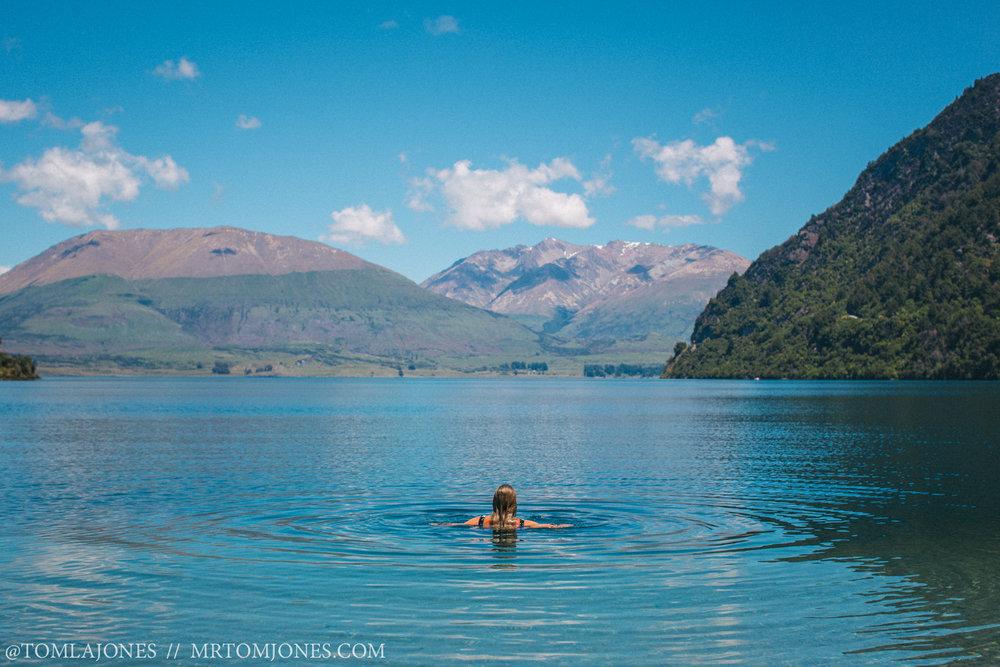 Swimming in Lake Wakatipu after a long hike.