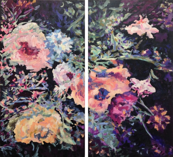 "ERIN LYNN WELSH  No Light, No Light 56"" x 50"" (2013) Diptych, oil on canvas"