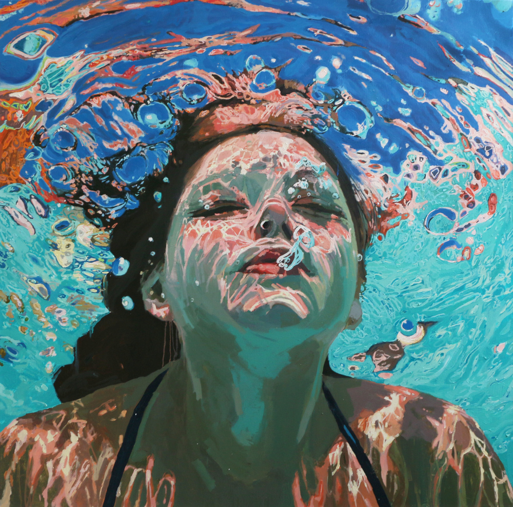 "Ascending the Surface, 64"" x 64"" by Samantha French"