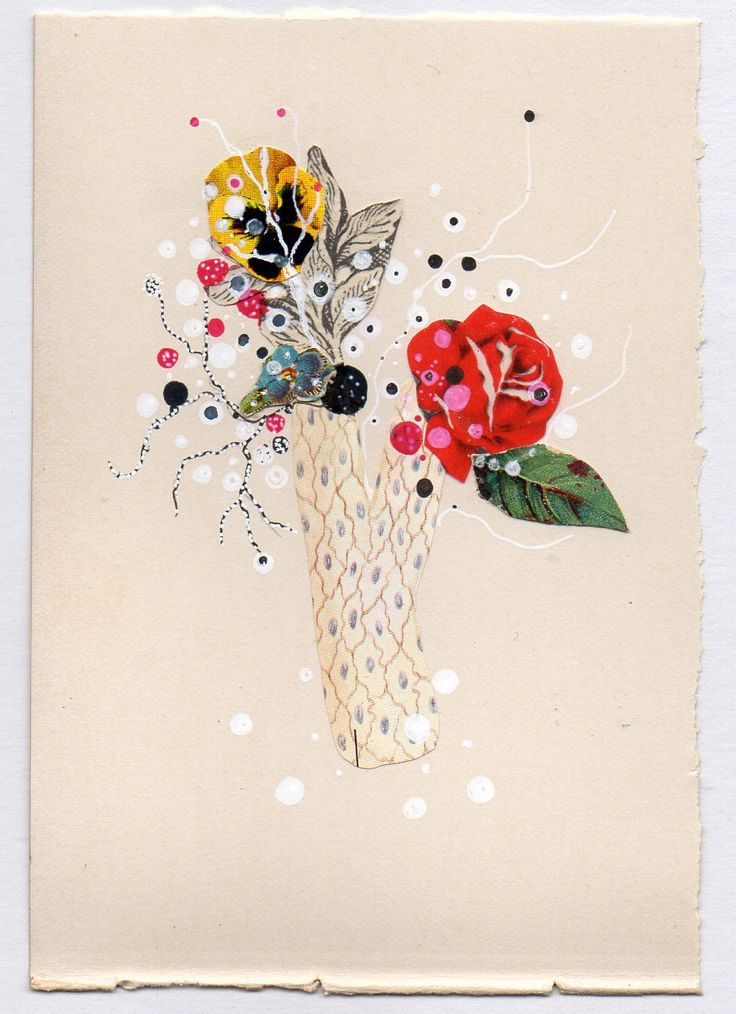 "JENNY BROWN, Blossoming Coral #2, ink and found collage on antique book page, framed to 5"" x 7"""