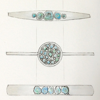 rough sapphire ring sketches