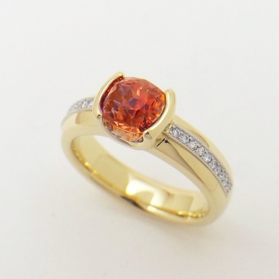 #EverlingJewelry. 18k recycled yellow gold with platinum accent. Diamonds and a padparadscha sapphire.