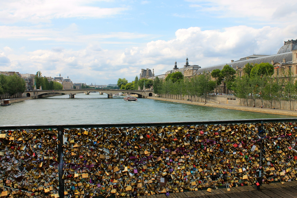 Pont des Arts (Love Lock) bridge in Paris overlooking The Seine. Photo by Rebecca Garland.