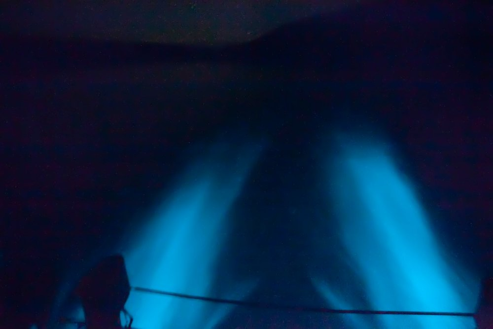 View of the bioluminescent bay in Vieques from a pontoon boat.  Photo courtesy of Puerto Rico Snorkeling.