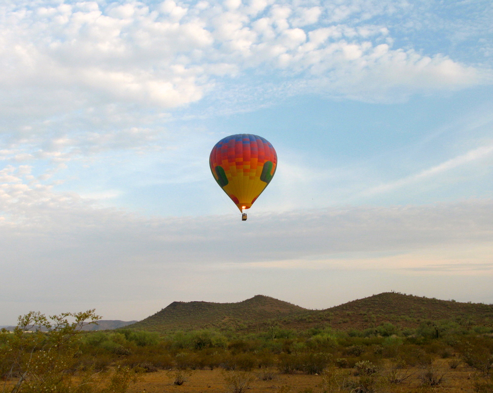 Hot air balloon ride over Scottsdale.  Photo by Hot Air Expeditions staff.