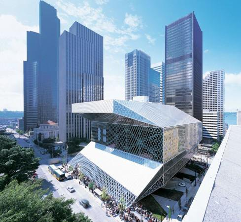 Photo of Downtown Seattle featuring the Central Library. Photo by Seattle Public Library.