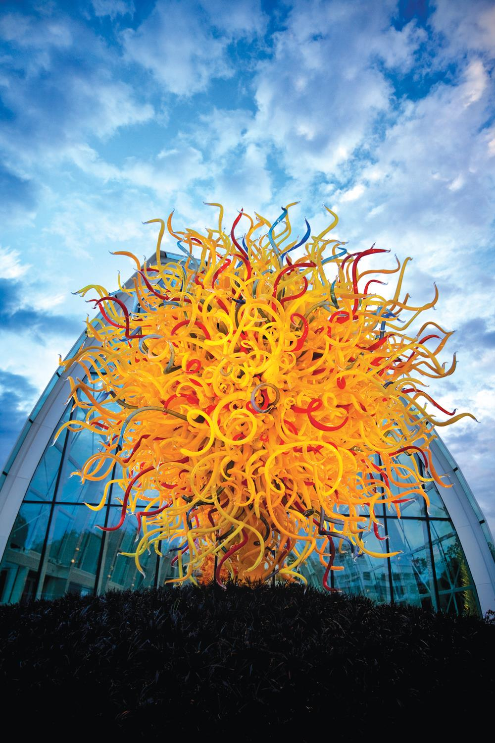Outside the Chihuly Garden and Glass glasshouse.  Photo by Chihuly Garden and Glass.
