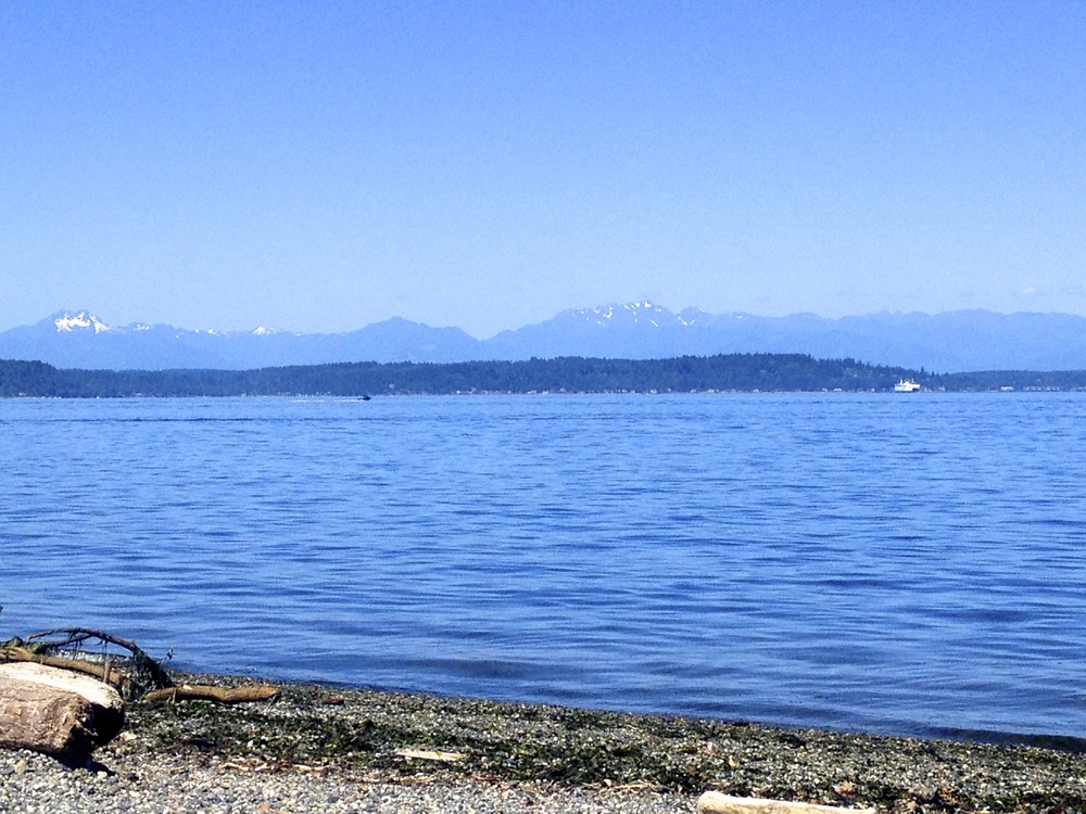 Alki Beach with views of Olympic Mountains. Photo by Rebecca Garland.