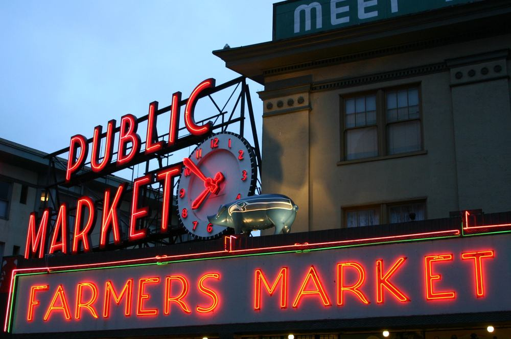 Pike Place Market clock.  Photo by Pike Place Market.