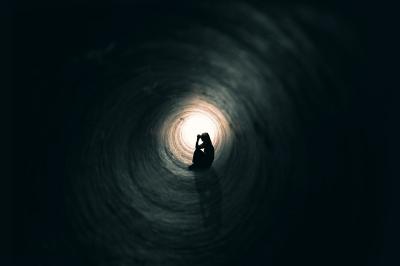 sad tunnel woman