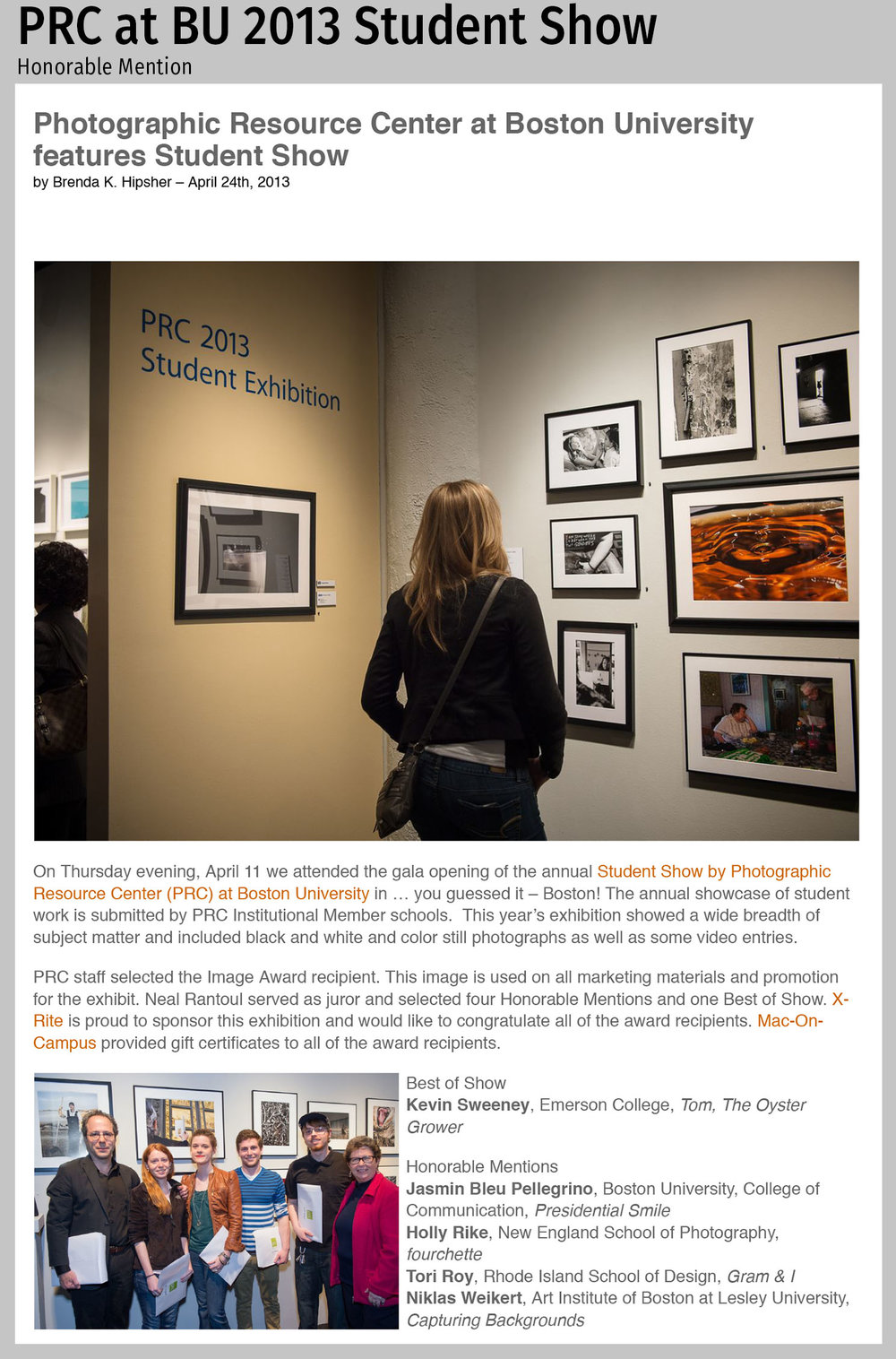 Photographic Resource Center at Boston University features Stude