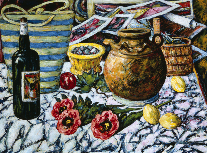 Wine Bottle with Flowers, Baskets and Ceramic Jug