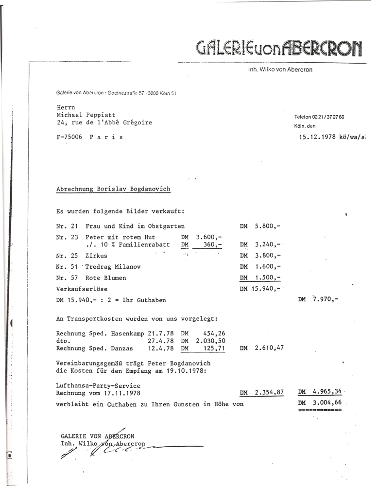 Galerie von Abercron Bill of Sale for 5 paintings from retrospective exhibition 1978