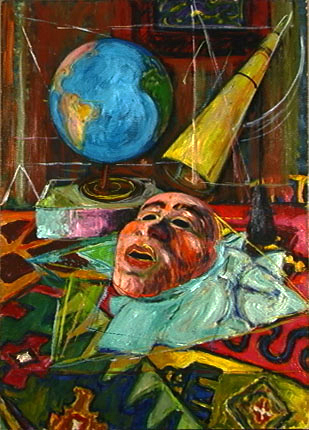 Mask and Globe, Oil, c. 1945
