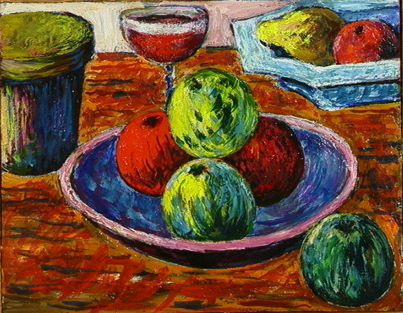 Apples in Bowl with Wine Glass