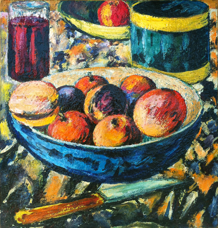 Peaches in Blue Bowl with Knife