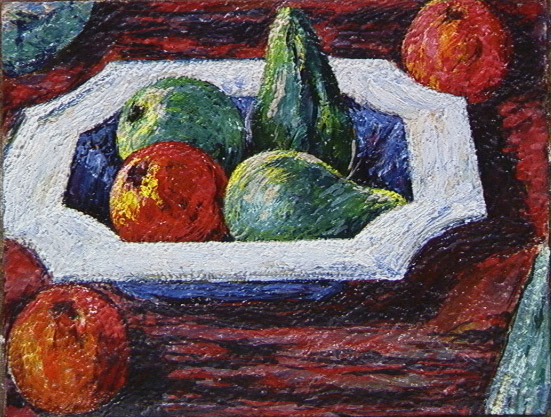 Pears and Apples in Octagonal Bowl