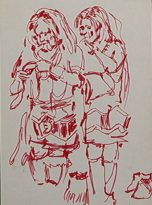 Sketch for two Native dancers with snake